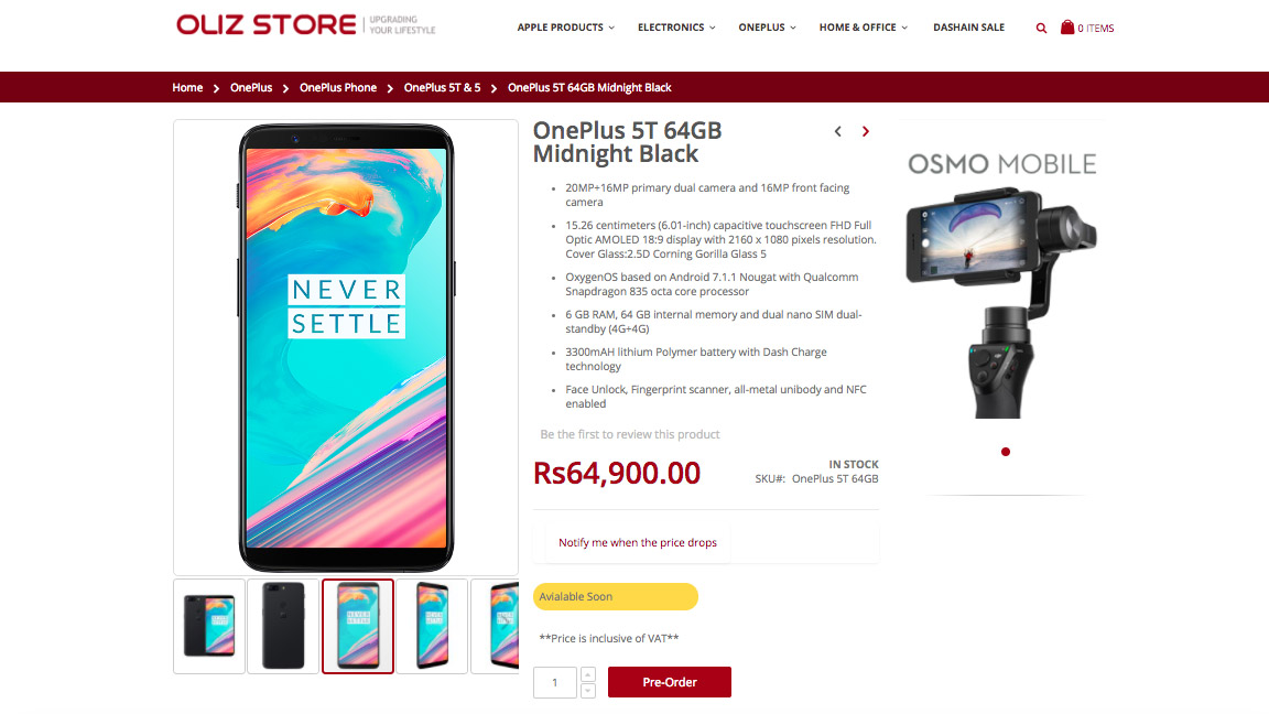 OnePlus Nepal quietly starts pre-order for the OnePlus 5T