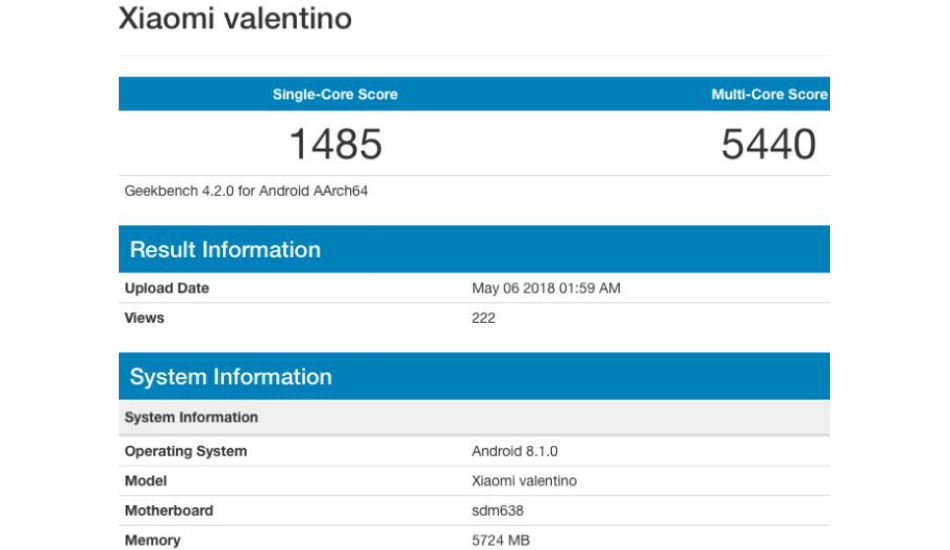 Xiaomi Valentino with Snapdragon 638 spotted on GeekBench